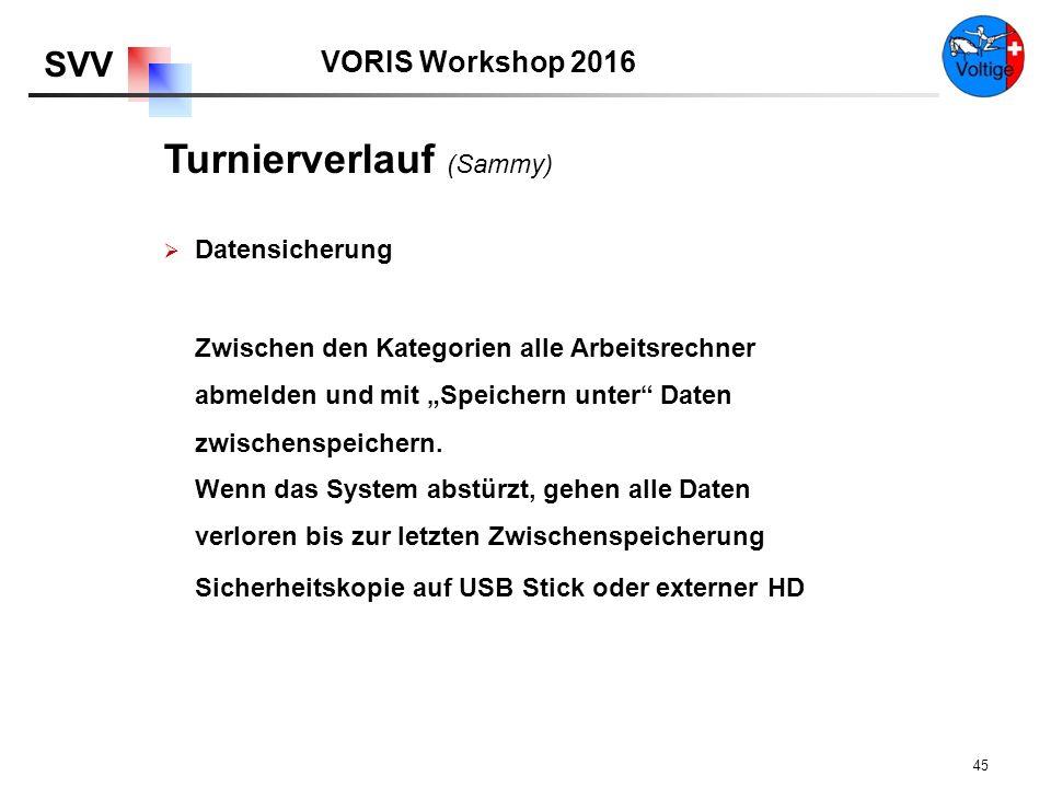"""VORIS Workshop 2016 SVV 45  Datensicherung Zwischen den Kategorien alle Arbeitsrechner abmelden und mit """"Speichern unter Daten zwischenspeichern."""