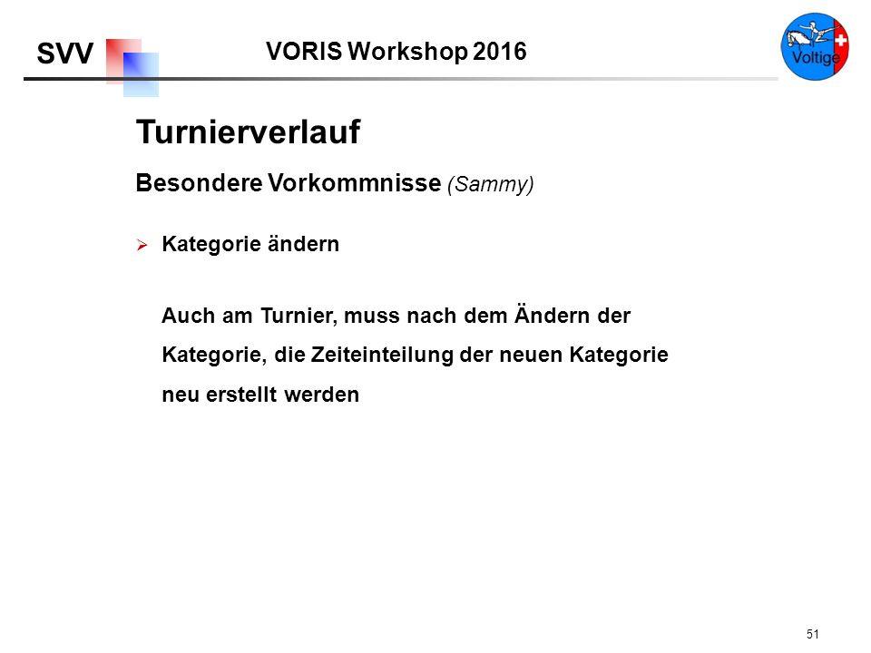 VORIS Workshop 2016 SVV 51 Turnierverlauf Besondere Vorkommnisse (Sammy)  Kategorie ändern Auch am Turnier, muss nach dem Ändern der Kategorie, die Zeiteinteilung der neuen Kategorie neu erstellt werden