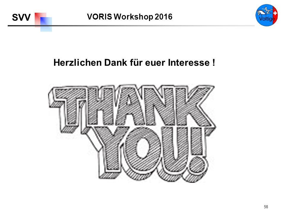 VORIS Workshop 2016 SVV 58 Herzlichen Dank für euer Interesse !