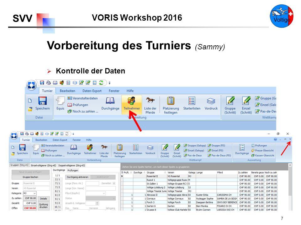VORIS Workshop 2016 SVV 7  Kontrolle der Daten Vorbereitung des Turniers (Sammy)