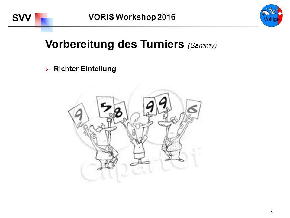 VORIS Workshop 2016 SVV 8  Richter Einteilung Vorbereitung des Turniers (Sammy)