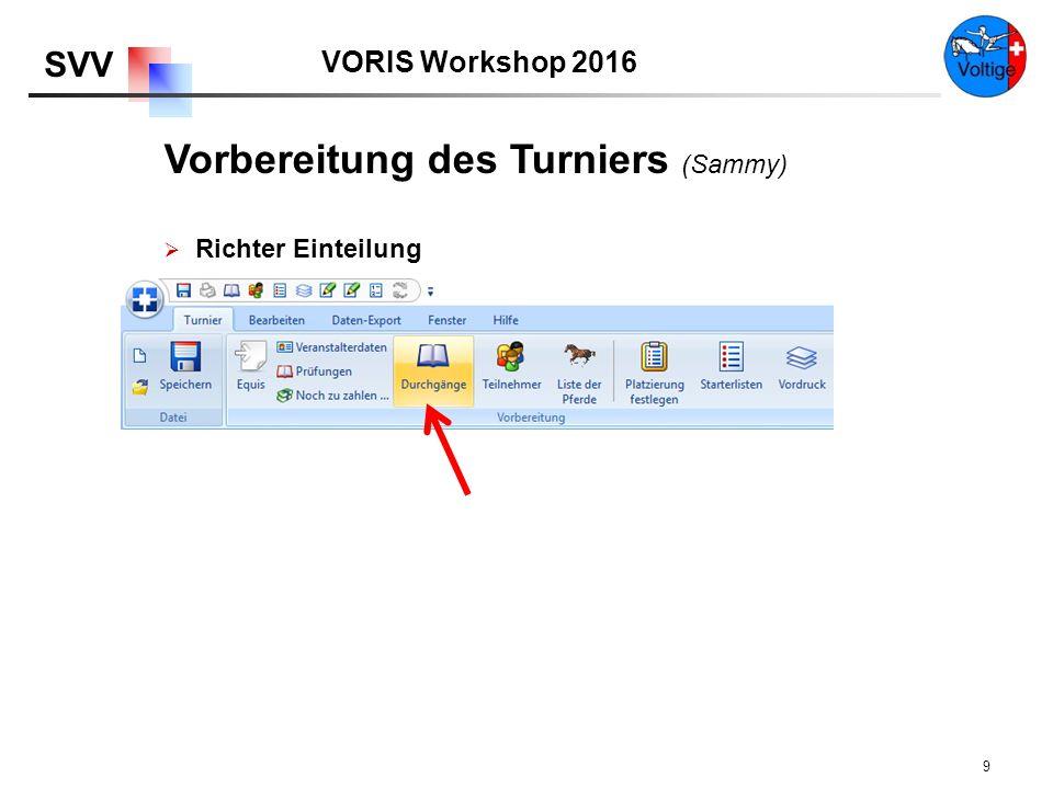 VORIS Workshop 2016 SVV 9  Richter Einteilung Vorbereitung des Turniers (Sammy)