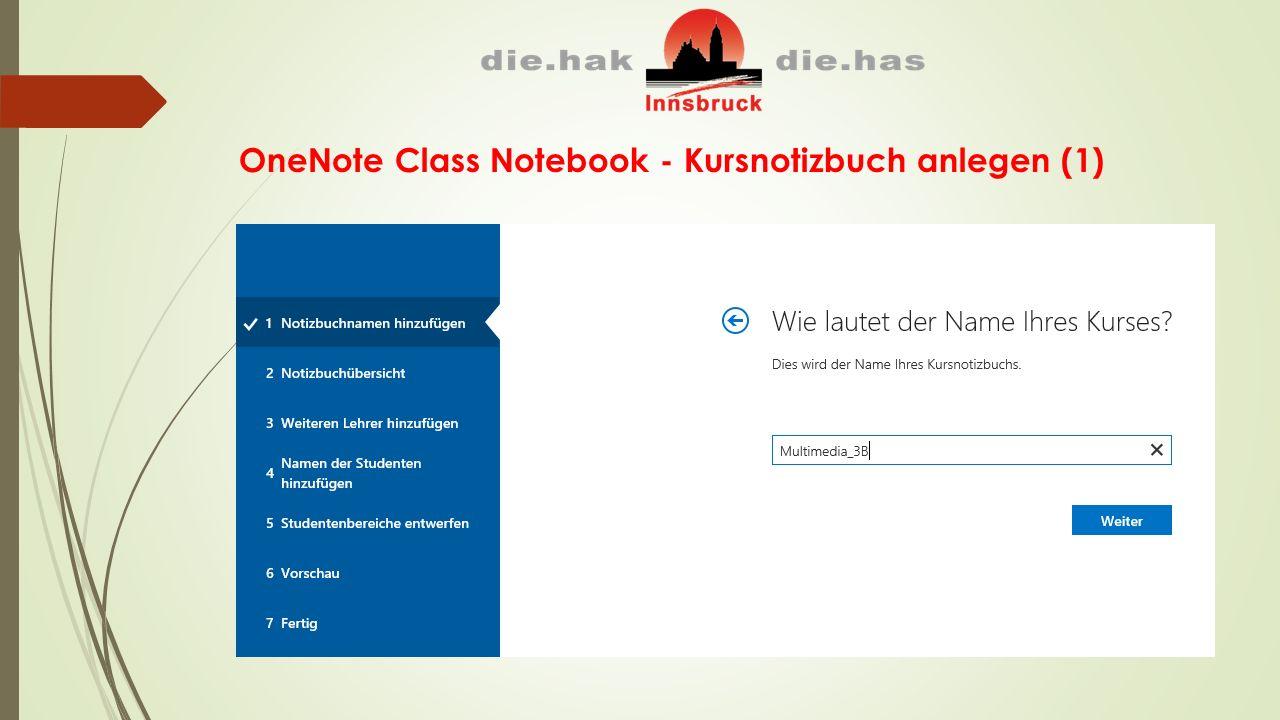 OneNote Class Notebook - Kursnotizbuch anlegen (1)