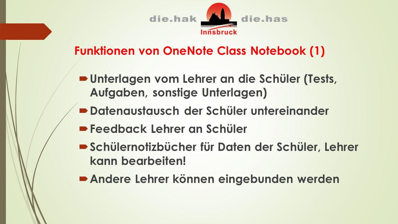 Funktionen von OneNote Class Notebook (1)  Unterlagen vom Lehrer an die Schüler (Tests, Aufgaben, sonstige Unterlagen)  Datenaustausch der Schüler untereinander  Feedback Lehrer an Schüler  Schülernotizbücher für Daten der Schüler, Lehrer kann bearbeiten.