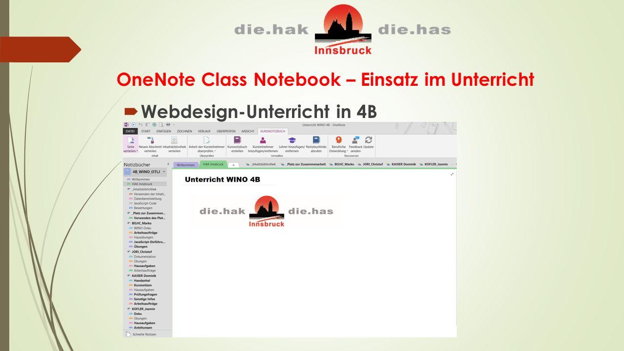 OneNote Class Notebook – Einsatz im Unterricht  Webdesign-Unterricht in 4B