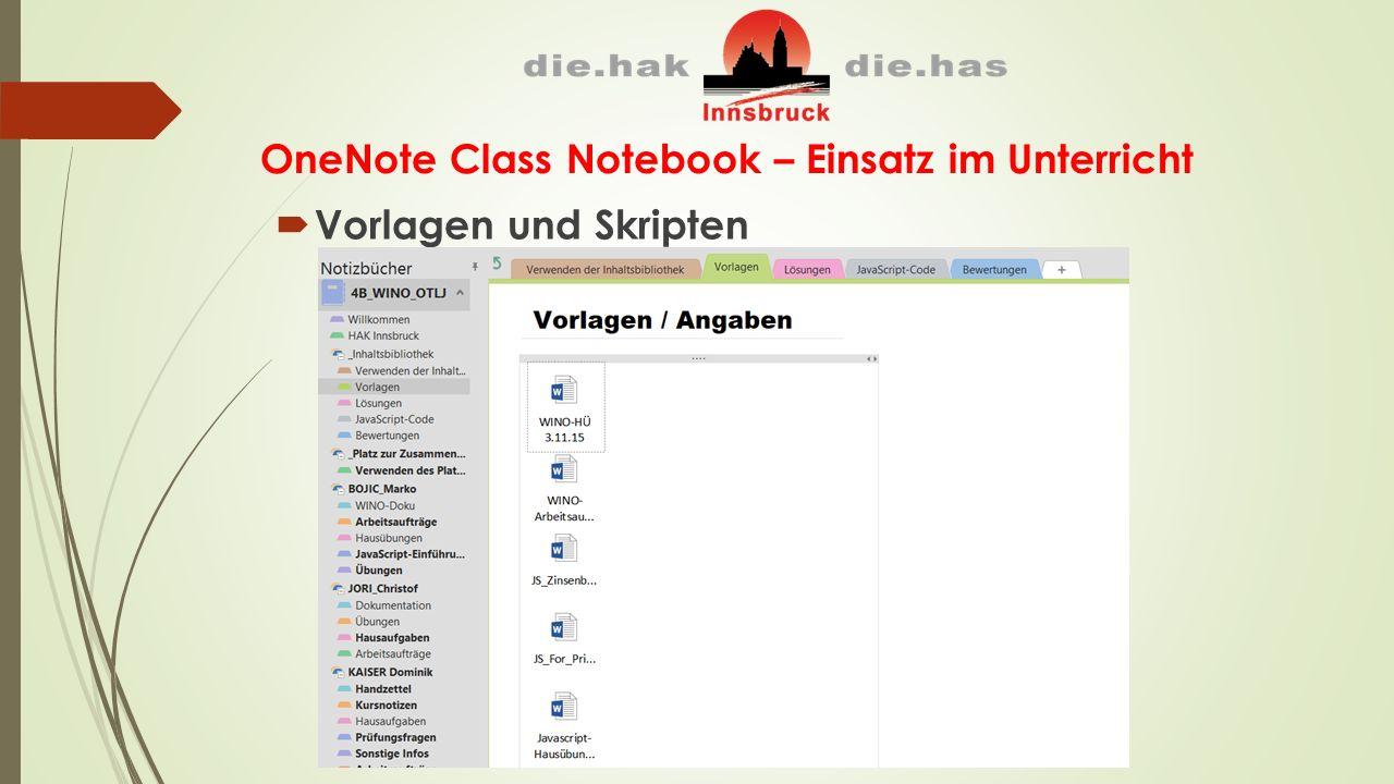OneNote Class Notebook – Einsatz im Unterricht  Vorlagen und Skripten