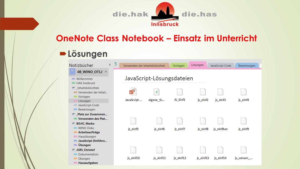 OneNote Class Notebook – Einsatz im Unterricht  Lösungen