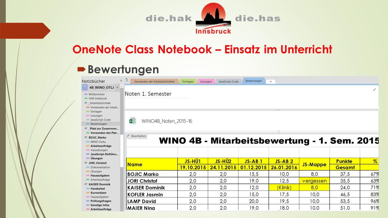OneNote Class Notebook – Einsatz im Unterricht  Bewertungen
