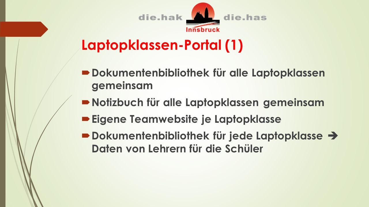 Laptopklassen-Portal (1)  Dokumentenbibliothek für alle Laptopklassen gemeinsam  Notizbuch für alle Laptopklassen gemeinsam  Eigene Teamwebsite je Laptopklasse  Dokumentenbibliothek für jede Laptopklasse  Daten von Lehrern für die Schüler