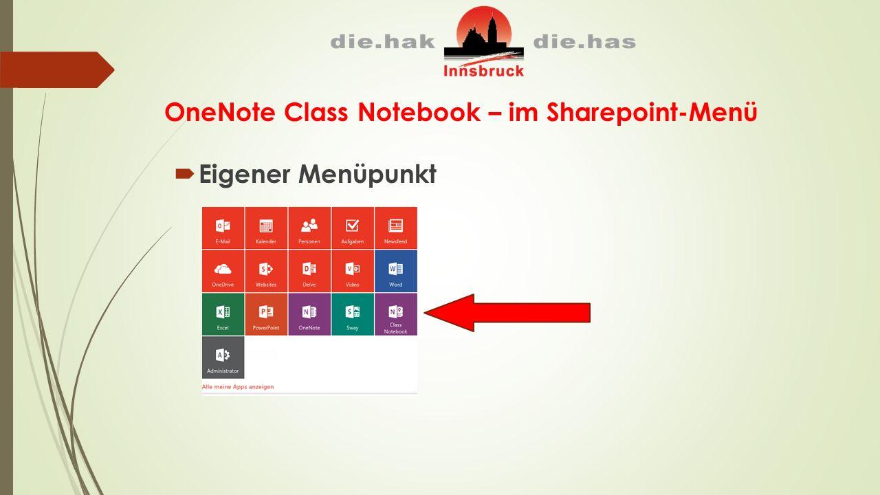 OneNote Class Notebook – im Sharepoint-Menü  Eigener Menüpunkt