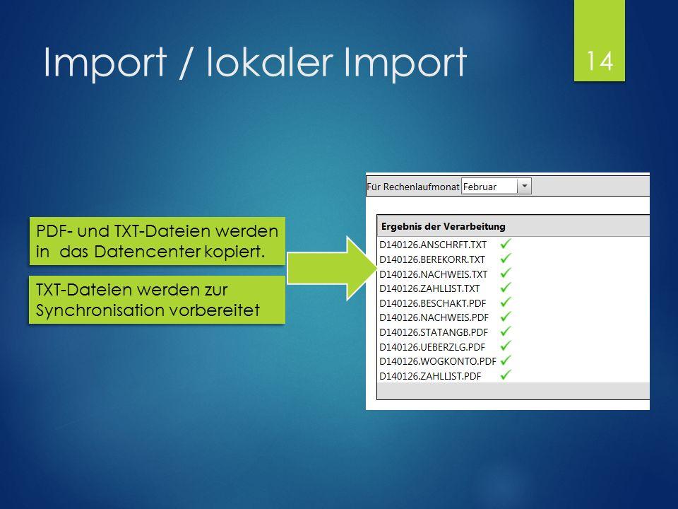 Import / lokaler Import PDF- und TXT-Dateien werden in das Datencenter kopiert. 14 TXT-Dateien werden zur Synchronisation vorbereitet