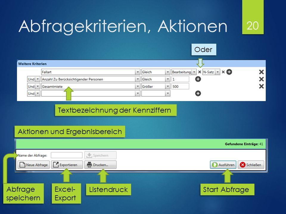 Abfragekriterien, Aktionen Oder Aktionen und Ergebnisbereich Start Abfrage Textbezeichnung der Kennziffern Listendruck Excel- Export Excel- Export Abfrage speichern Abfrage speichern 20