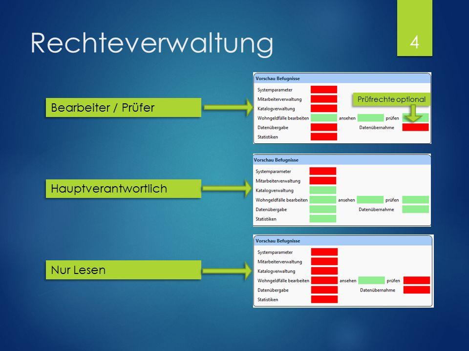 Rechteverwaltung Bearbeiter / Prüfer Hauptverantwortlich Nur Lesen Prüfrechte optional 4