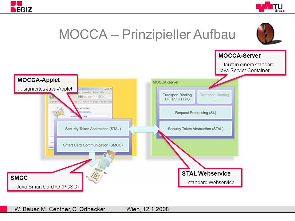 MOCCA – Prinzipieller Aufbau Wien, 12.1.2008 W. Bauer, M.