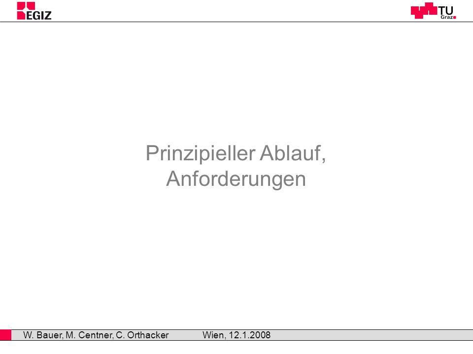 Prinzipieller Ablauf, Anforderungen Wien, 12.1.2008 W. Bauer, M. Centner, C. Orthacker