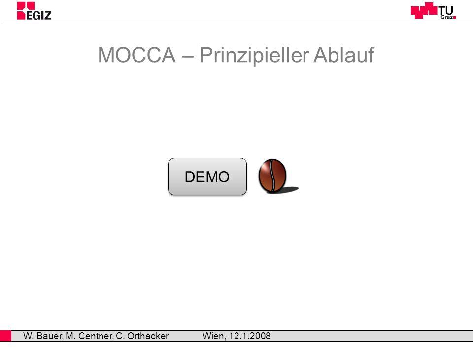 MOCCA – Prinzipieller Ablauf Wien, 12.1.2008 W. Bauer, M. Centner, C. Orthacker DEMO