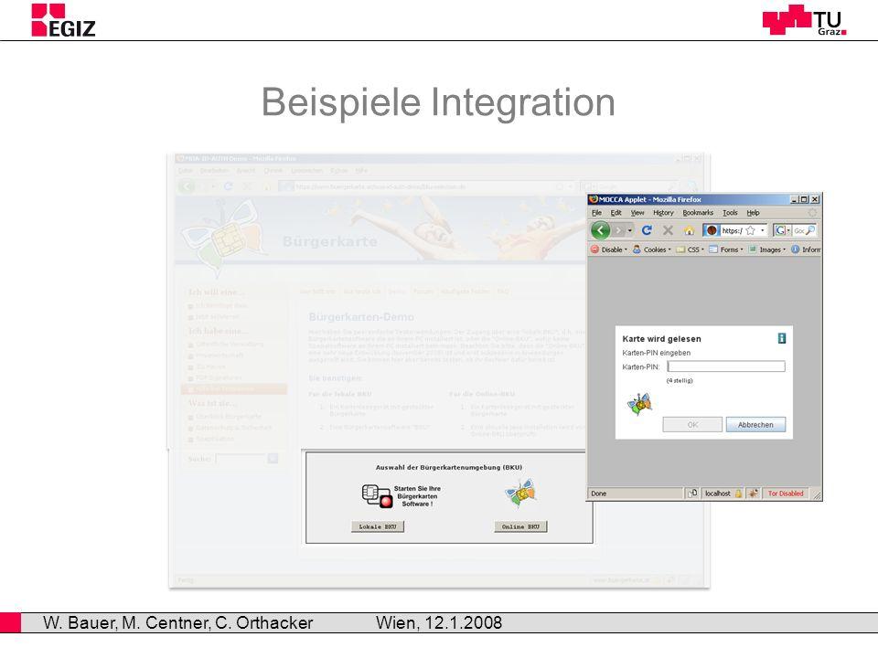 Beispiele Integration Wien, 12.1.2008 W. Bauer, M. Centner, C. Orthacker