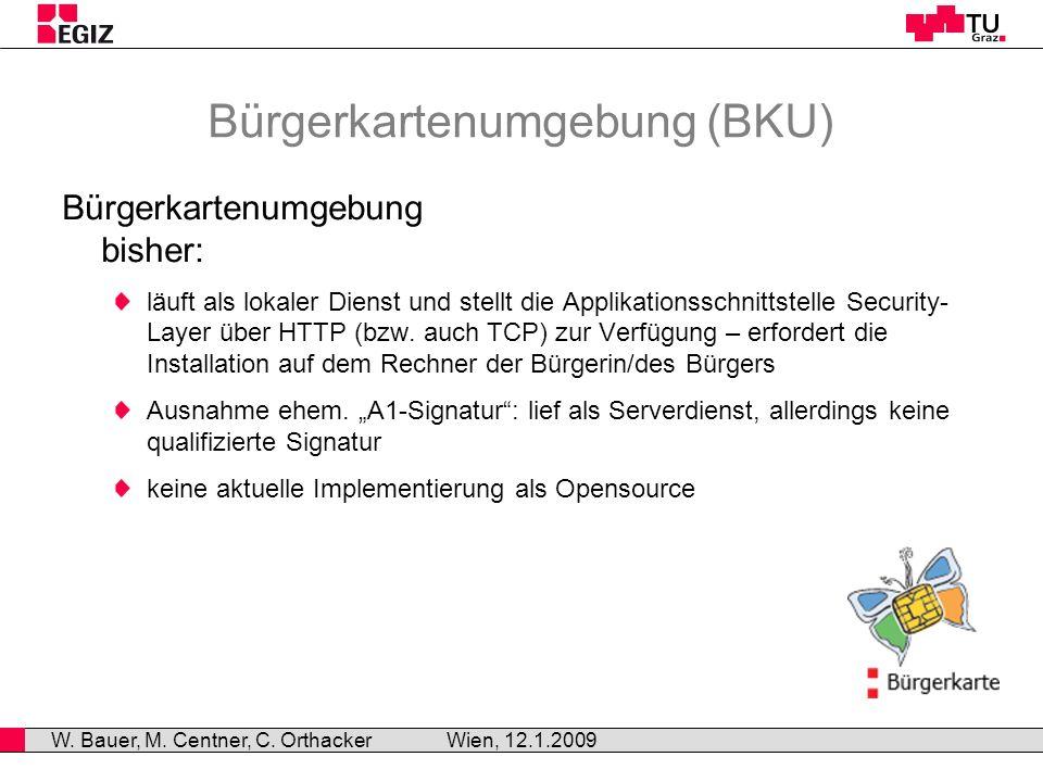 Opensource-Projekt MOCCA Anfang 2008 durch EGIZ gestartet (Kooperation BKA und TU Graz) Projektziele: Basismodule für BKU-Implementierungen BKU-Implementierungen (z.B.