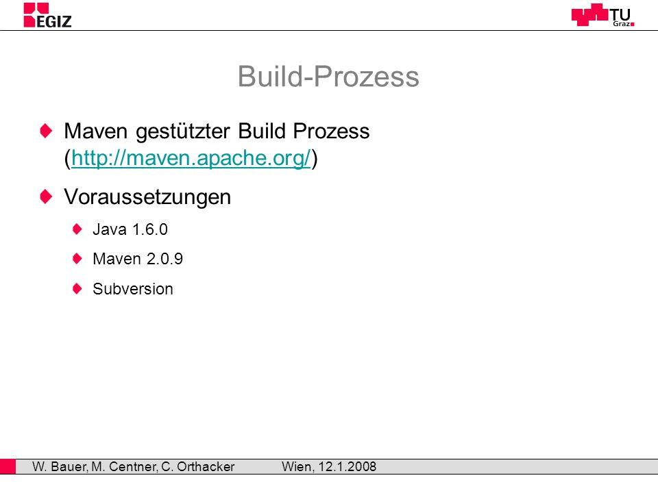Build-Prozess Maven gestützter Build Prozess (http://maven.apache.org/)http://maven.apache.org/ Voraussetzungen Java 1.6.0 Maven 2.0.9 Subversion Wien, 12.1.2008 W.