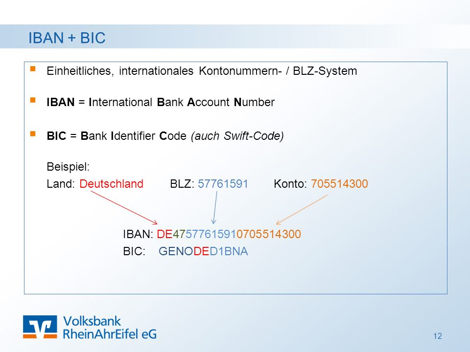 IBAN + BIC  Einheitliches, internationales Kontonummern- / BLZ-System  IBAN = International Bank Account Number  BIC = Bank Identifier Code (auch S