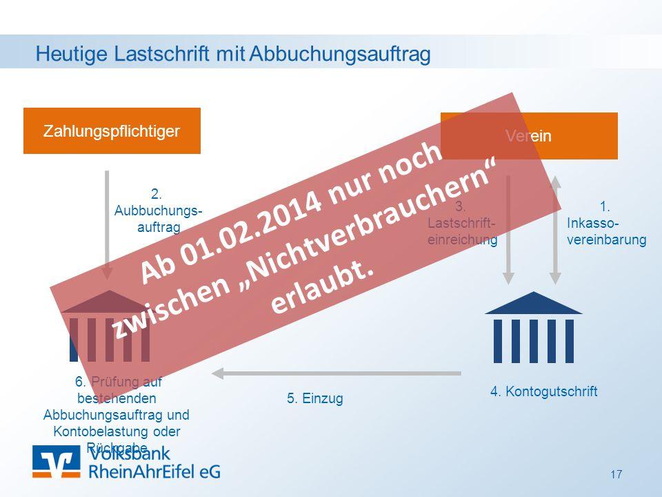 Heutige Lastschrift mit Abbuchungsauftrag 17 Zahlungspflichtiger Verein 1.