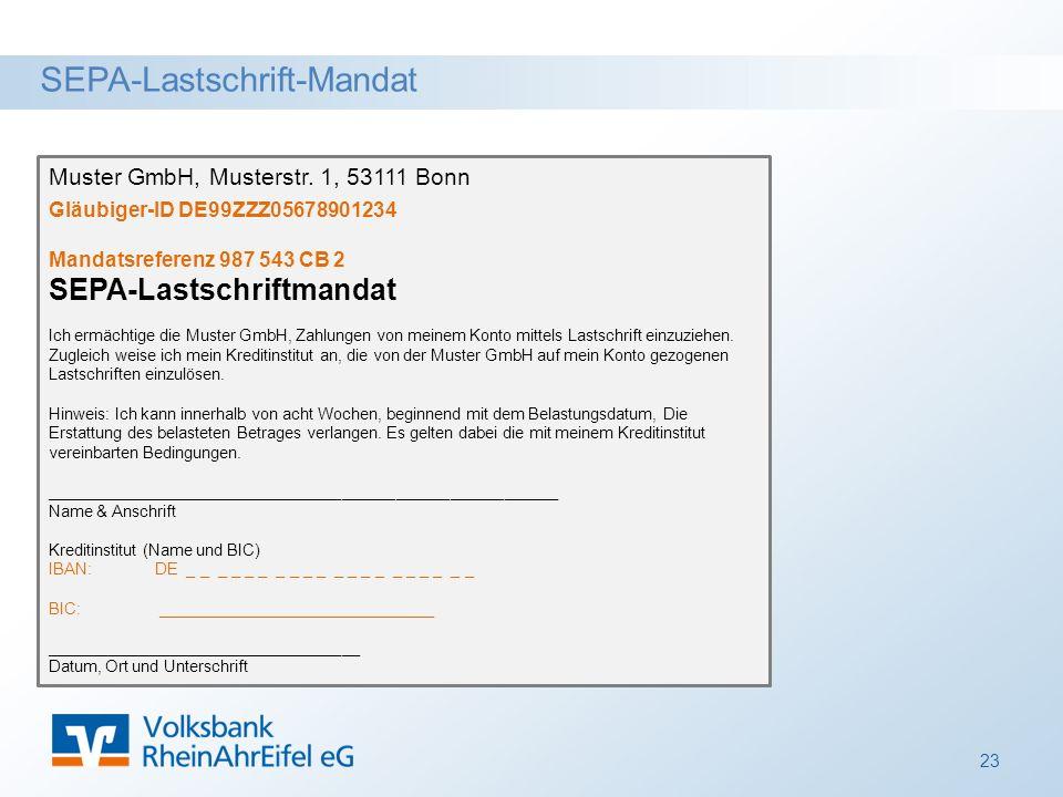 SEPA-Lastschrift-Mandat 23 Muster GmbH, Musterstr.
