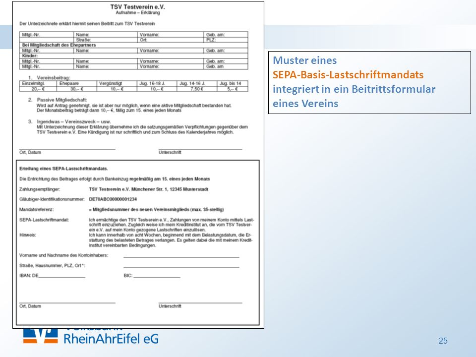 25 Muster eines SEPA-Basis-Lastschriftmandats integriert in ein Beitrittsformular eines Vereins