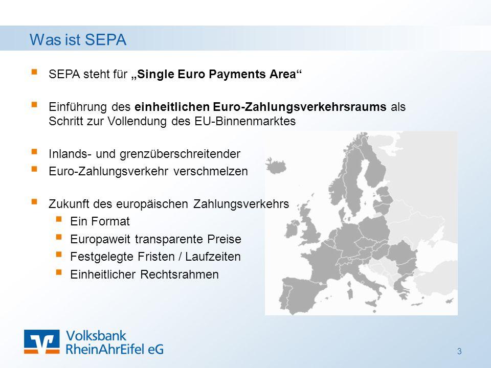 """Was ist SEPA  SEPA steht für """"Single Euro Payments Area  Einführung des einheitlichen Euro-Zahlungsverkehrsraums als Schritt zur Vollendung des EU-Binnenmarktes  Inlands- und grenzüberschreitender  Euro-Zahlungsverkehr verschmelzen  Zukunft des europäischen Zahlungsverkehrs  Ein Format  Europaweit transparente Preise  Festgelegte Fristen / Laufzeiten  Einheitlicher Rechtsrahmen 3"""