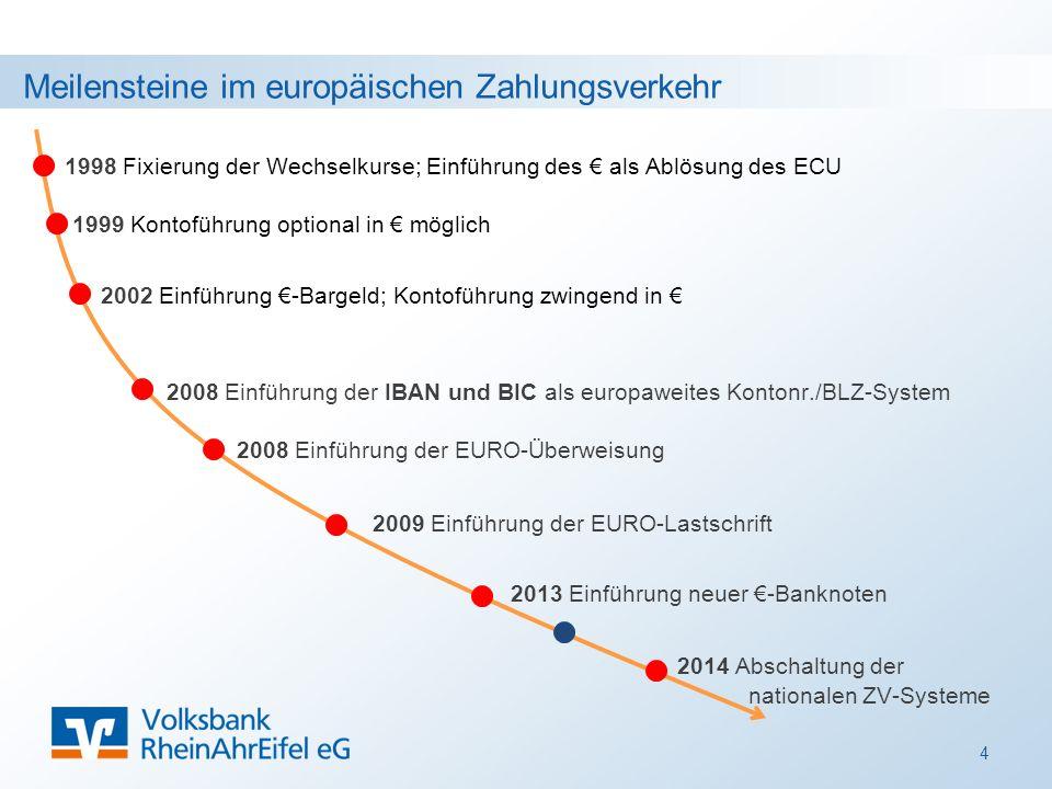 Meilensteine im europäischen Zahlungsverkehr 4 1998 Fixierung der Wechselkurse; Einführung des € als Ablösung des ECU 1999 Kontoführung optional in € möglich 2008 Einführung der IBAN und BIC als europaweites Kontonr./BLZ-System 2002 Einführung €-Bargeld; Kontoführung zwingend in € 2008 Einführung der EURO-Überweisung 2009 Einführung der EURO-Lastschrift 2014 Abschaltung der nationalen ZV-Systeme 2013 Einführung neuer €-Banknoten