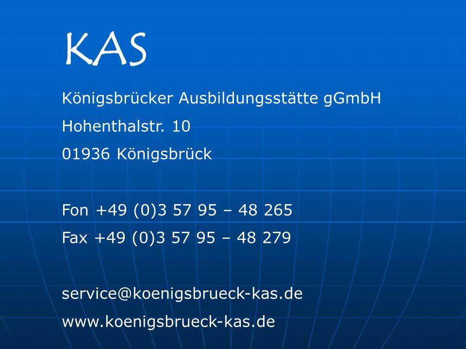 KAS Königsbrücker Ausbildungsstätte gGmbH Hohenthalstr.