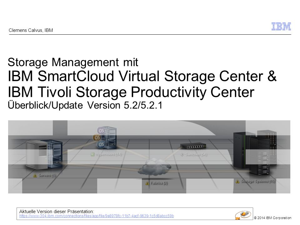 © 2014 IBM Corporation IBM SmartCloud Virtual Storage Center (VSC) = IBM Hypervisor für Storage 12 Snapshot Data Protection [FlashCopy Manager] External Storage Virtualization [SVC/Storwize] Incredible Ease of Use Expanded Flexibility Automated Data Protection Enables storage for cloud computing Easy to buy and deploy Pay-as-you-go pricing TPC Select SmartCloud Virtual Storage Center