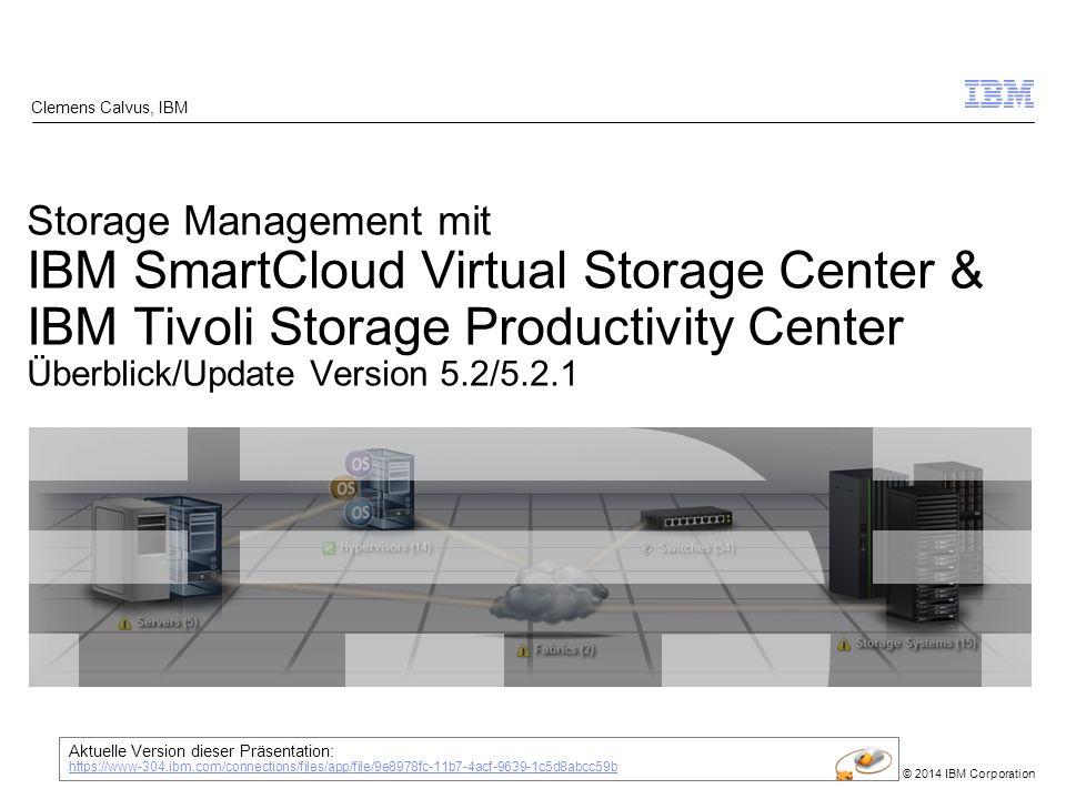 © 2014 IBM Corporation Data Path View 42 End-to-end Sicht zur Analyse von Auswirkungen unterschiedlicher Probleme und betroffenen Komponenten Reduziert die Zeit bei der Analyse von Ursachen TPC Select SmartCloud Virtual Storage Center