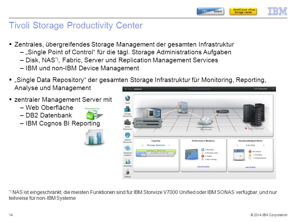 "© 2014 IBM Corporation Tivoli Storage Productivity Center  Zentrales, übergreifendes Storage Management der gesamten Infrastruktur –""Single Point of Control für die tägl."