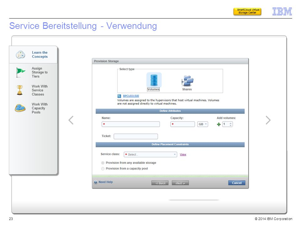 © 2014 IBM Corporation Service Bereitstellung - Verwendung 23 SmartCloud Virtual Storage Center