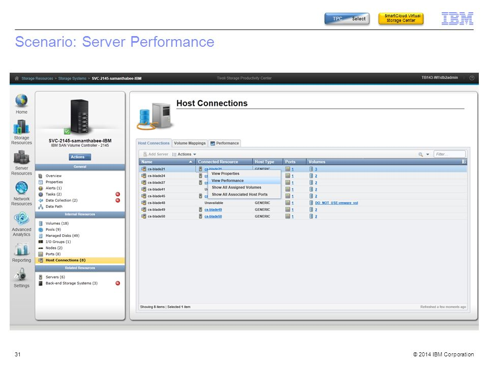 © 2014 IBM Corporation Scenario: Server Performance 31 TPC Select SmartCloud Virtual Storage Center