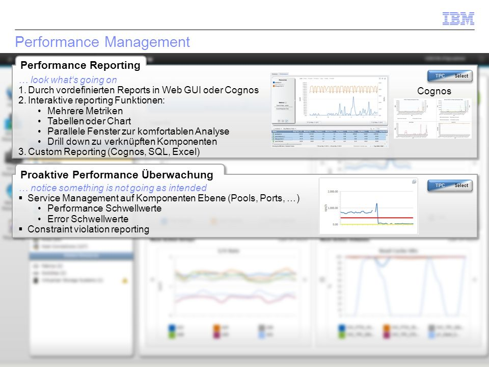 © 2014 IBM Corporation35 Performance Management Proaktive Performance Überwachung TPC Select … notice something is not going as intended  Service Management auf Komponenten Ebene (Pools, Ports, …) Performance Schwellwerte Error Schwellwerte  Constraint violation reporting Performance Reporting TPC Select Cognos … look what's going on 1.Durch vordefinierten Reports in Web GUI oder Cognos 2.Interaktive reporting Funktionen: Mehrere Metriken Tabellen oder Chart Parallele Fenster zur komfortablen Analyse Drill down zu verknüpften Komponenten 3.Custom Reporting (Cognos, SQL, Excel)