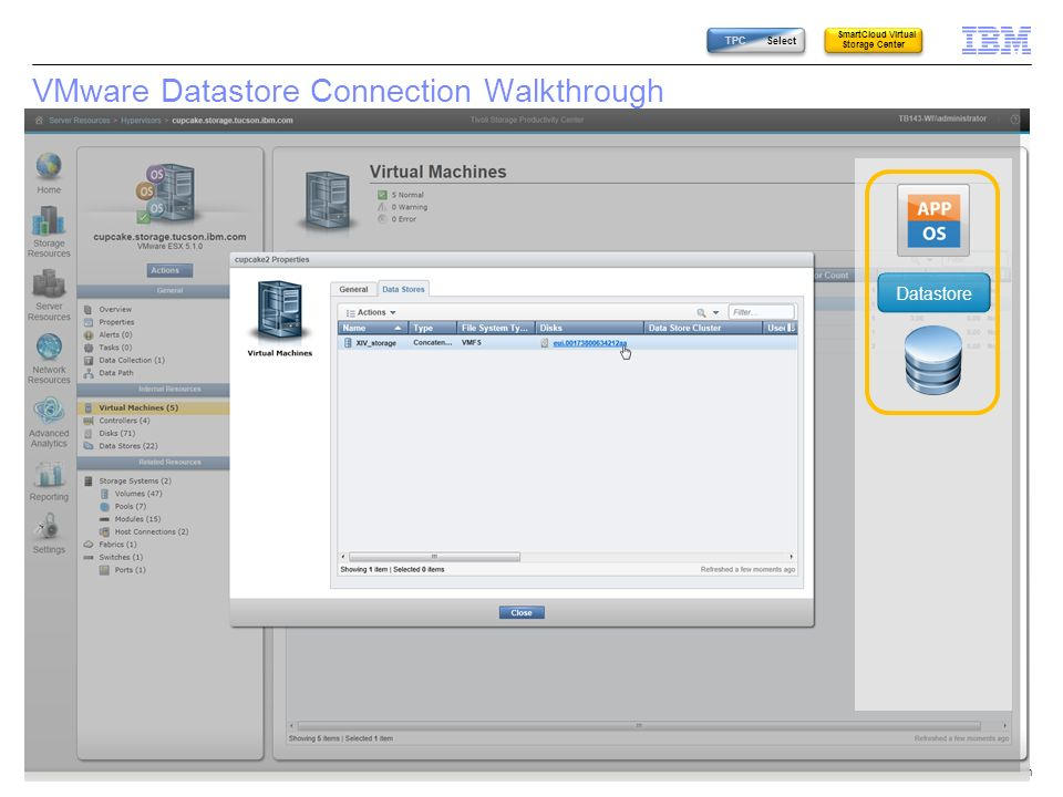 © 2014 IBM Corporation45 VMware Datastore Connection Walkthrough Datastore TPC Select SmartCloud Virtual Storage Center