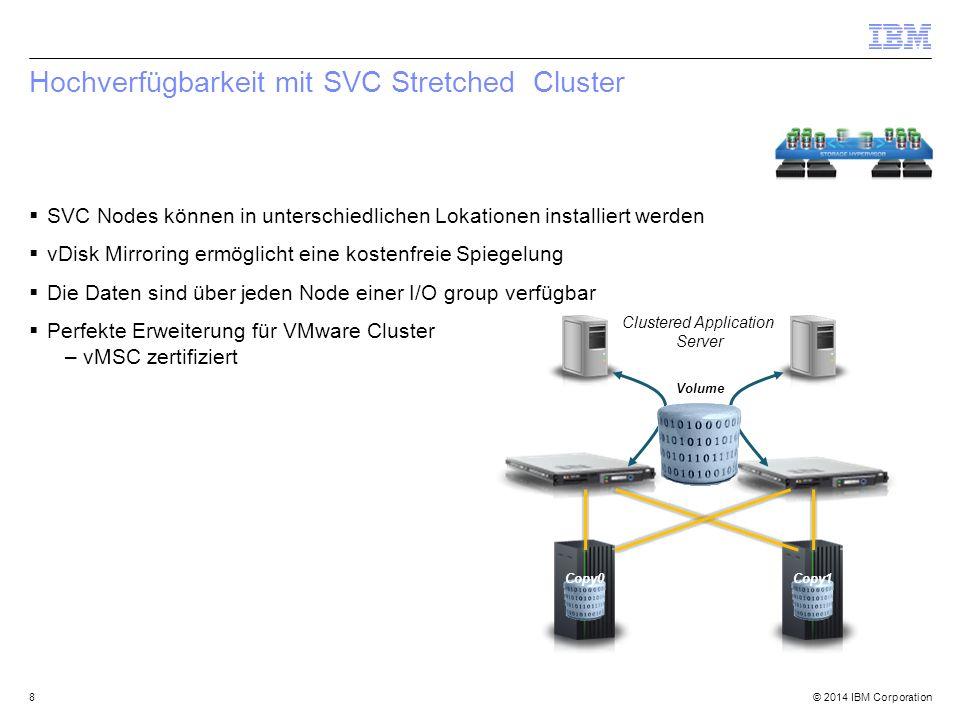 © 2014 IBM Corporation Management von Speicherkapazitäten  Kapazitäten werden für folgende Objekte angezeigt: –Storage System –Servers –Hypervisors  Capacity Bars  Weitere details können in TPC Reporting betrachtet werden, z.B.