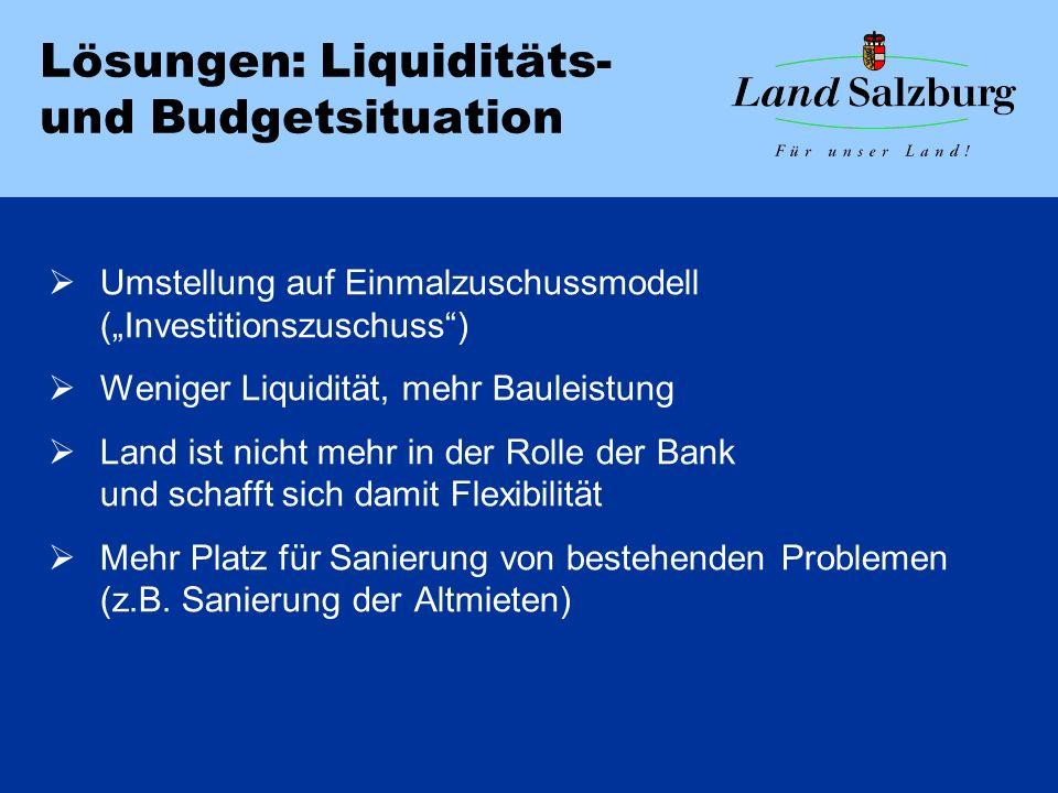 """Lösungen: Liquiditäts- und Budgetsituation  Umstellung auf Einmalzuschussmodell (""""Investitionszuschuss )  Weniger Liquidität, mehr Bauleistung  Land ist nicht mehr in der Rolle der Bank und schafft sich damit Flexibilität  Mehr Platz für Sanierung von bestehenden Problemen (z.B."""