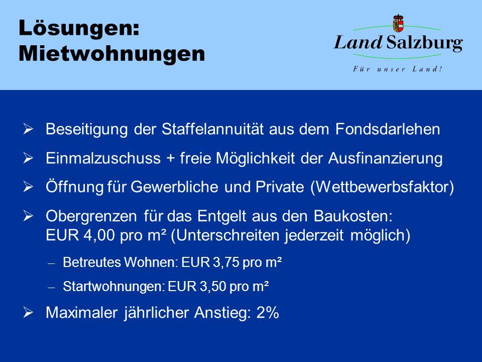 Lösungen: Mietwohnungen  Beseitigung der Staffelannuität aus dem Fondsdarlehen  Einmalzuschuss + freie Möglichkeit der Ausfinanzierung  Öffnung für Gewerbliche und Private (Wettbewerbsfaktor)  Obergrenzen für das Entgelt aus den Baukosten: EUR 4,00 pro m² (Unterschreiten jederzeit möglich)  Betreutes Wohnen: EUR 3,75 pro m²  Startwohnungen: EUR 3,50 pro m²  Maximaler jährlicher Anstieg: 2%