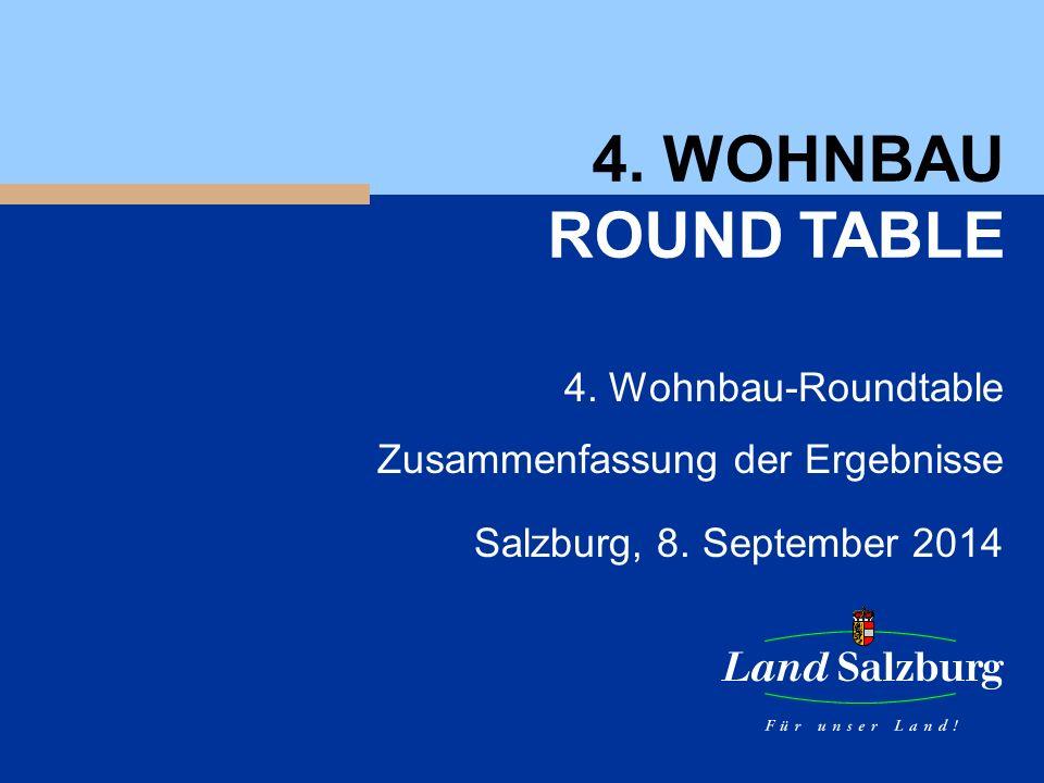 4. WOHNBAU ROUND TABLE 4. Wohnbau-Roundtable Zusammenfassung der Ergebnisse Salzburg, 8.