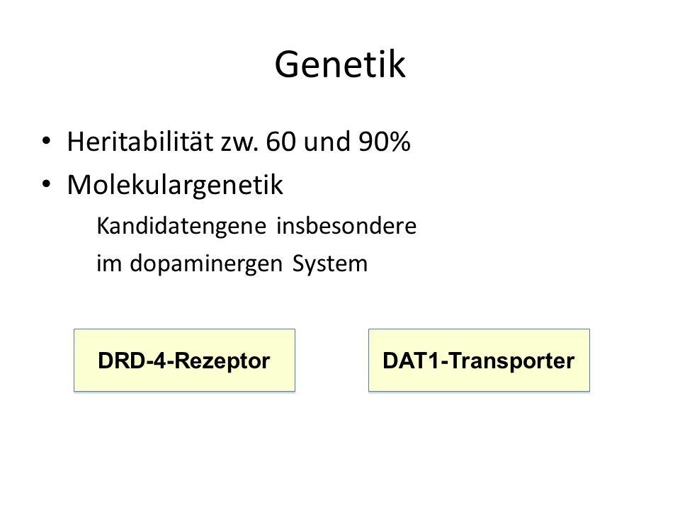 Genetik Heritabilität zw. 60 und 90% Molekulargenetik Kandidatengene insbesondere im dopaminergen System DRD-4-Rezeptor DAT1-Transporter