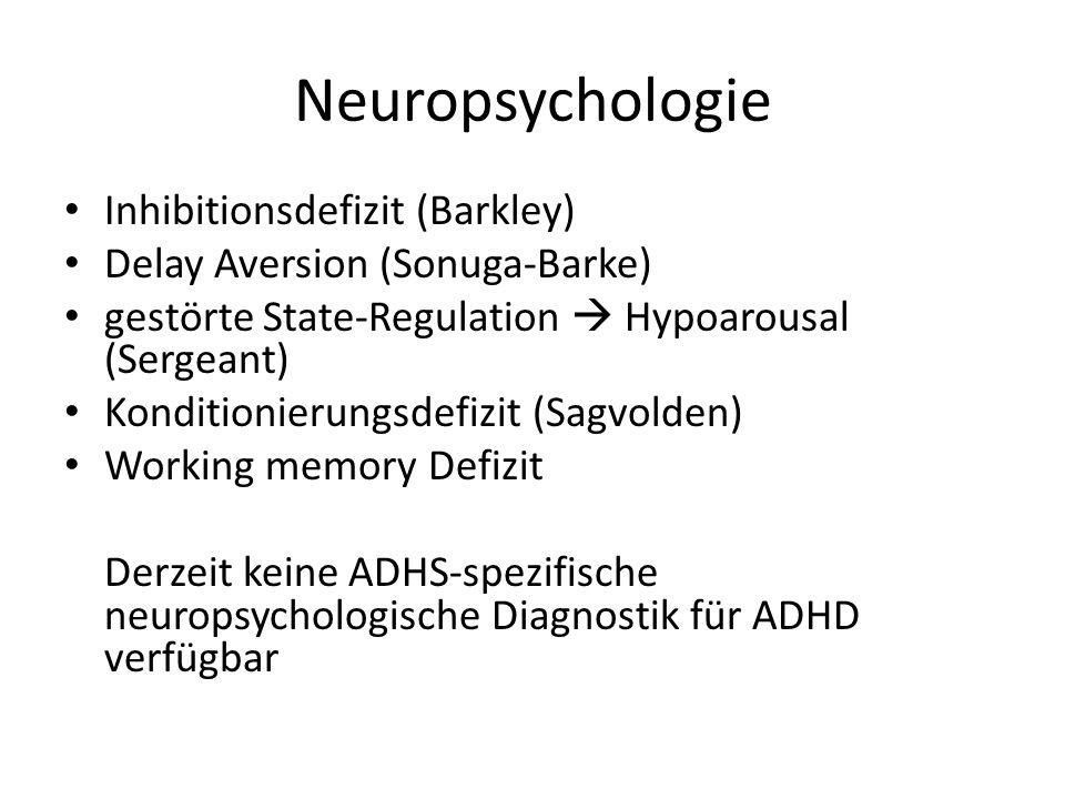 Neuropsychologie Inhibitionsdefizit (Barkley) Delay Aversion (Sonuga-Barke) gestörte State-Regulation  Hypoarousal (Sergeant) Konditionierungsdefizit (Sagvolden) Working memory Defizit Derzeit keine ADHS-spezifische neuropsychologische Diagnostik für ADHD verfügbar
