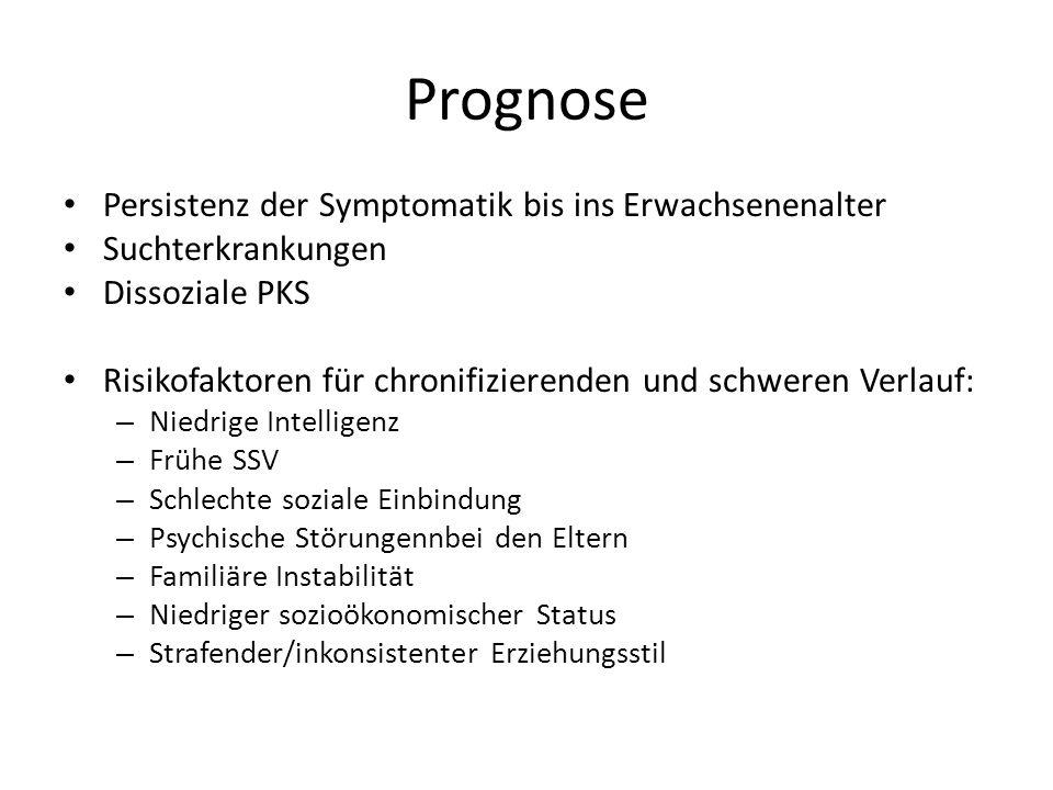 Prognose Persistenz der Symptomatik bis ins Erwachsenenalter Suchterkrankungen Dissoziale PKS Risikofaktoren für chronifizierenden und schweren Verlau