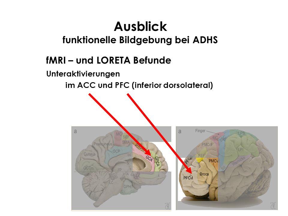 Ausblick funktionelle Bildgebung bei ADHS fMRI – und LORETA Befunde Unteraktivierungen im ACC und PFC (inferior dorsolateral)