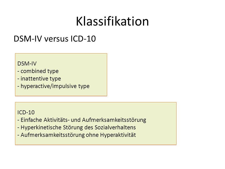 Klassifikation DSM-IV versus ICD-10 DSM-IV - combined type - inattentive type - hyperactive/impulsive type DSM-IV - combined type - inattentive type - hyperactive/impulsive type ICD-10 - Einfache Aktivitäts- und Aufmerksamkeitsstörung - Hyperkinetische Störung des Sozialverhaltens - Aufmerksamkeitsstörung ohne Hyperaktivität ICD-10 - Einfache Aktivitäts- und Aufmerksamkeitsstörung - Hyperkinetische Störung des Sozialverhaltens - Aufmerksamkeitsstörung ohne Hyperaktivität
