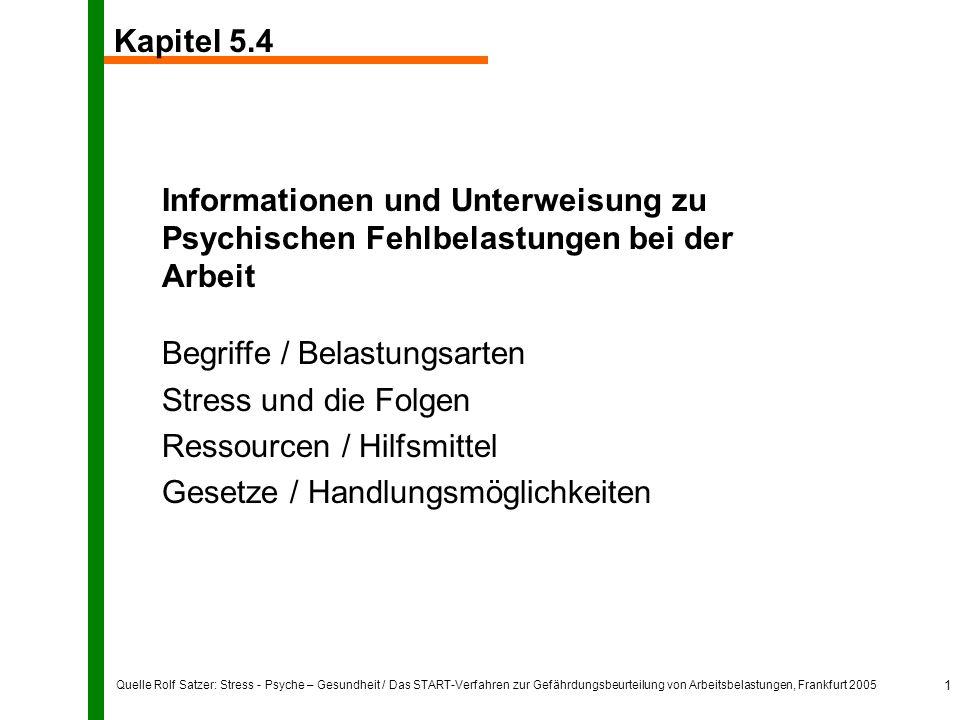 Quelle Rolf Satzer: Stress - Psyche – Gesundheit / Das START-Verfahren zur Gefährdungsbeurteilung von Arbeitsbelastungen, Frankfurt 2005 1 Information