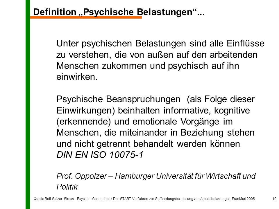 """Quelle Rolf Satzer: Stress - Psyche – Gesundheit / Das START-Verfahren zur Gefährdungsbeurteilung von Arbeitsbelastungen, Frankfurt 2005 10 Definition """"Psychische Belastungen ..."""