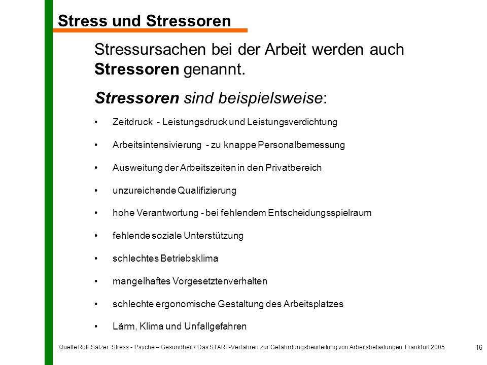 Quelle Rolf Satzer: Stress - Psyche – Gesundheit / Das START-Verfahren zur Gefährdungsbeurteilung von Arbeitsbelastungen, Frankfurt 2005 16 Stress und