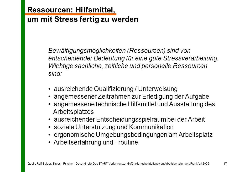 Quelle Rolf Satzer: Stress - Psyche – Gesundheit / Das START-Verfahren zur Gefährdungsbeurteilung von Arbeitsbelastungen, Frankfurt 2005 17 Ressourcen